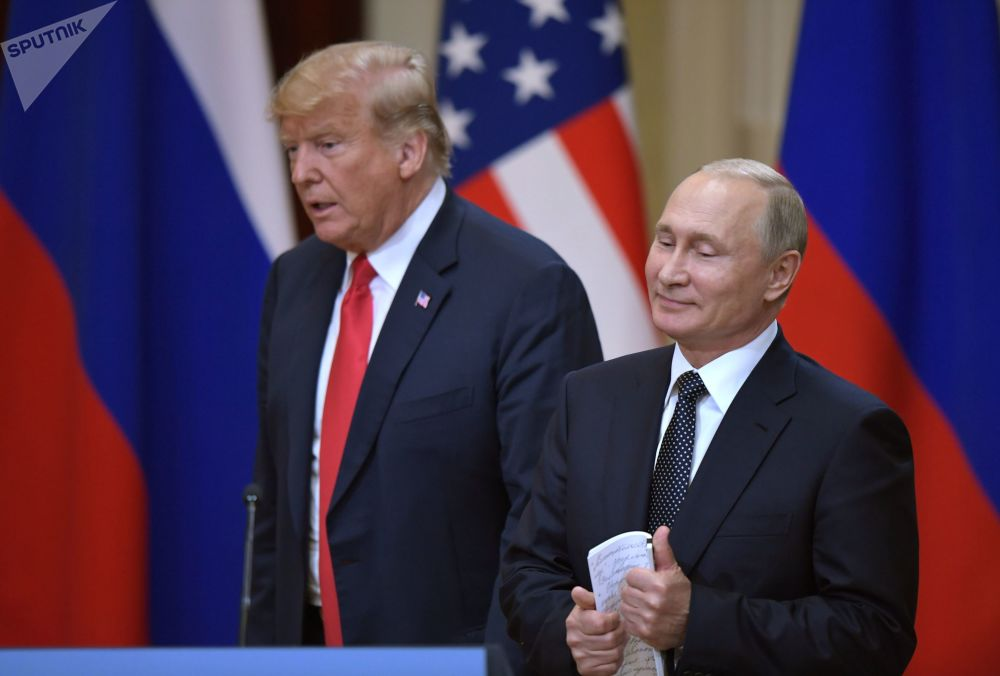 Władimir Putin i Donald Trump w Helsinkach