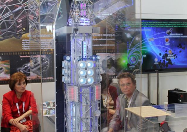 Model jądrowego układu napędowego w składzie modułu transportowo-energetycznego na wystawie