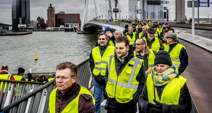 Protest żółtych kamizelek w Rotterdamie