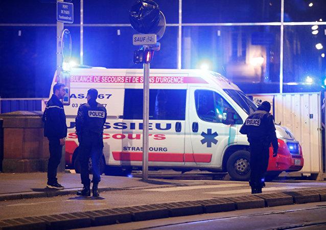 Francuska policja w Strasburgu