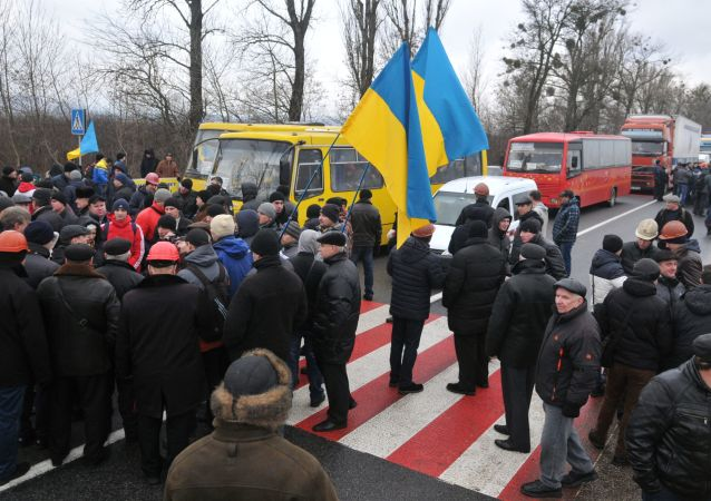 Akcja protestu górników Lwowugol w obwodzie lwowskim
