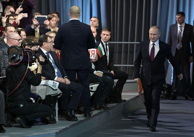 Władimir Putin podczas corocznej konferencji