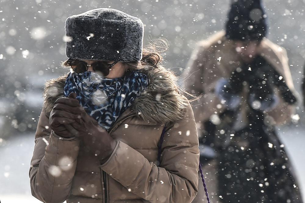 Opady śniegu w Stambule, Turcja