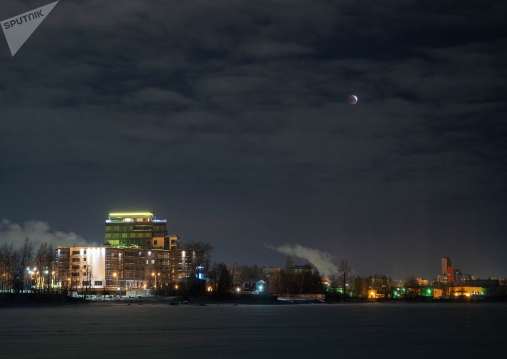 Zaćmienie Księżyca widziane w Pietrozawodsku