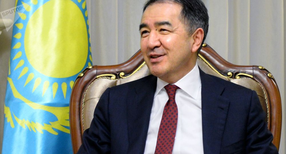 Premier Kazachstanu Bakytżan Sagyntajew podczas spotkania z rosyjską delegacją pod przewodnictwem wicepremiera rządu Federacji Rosyjskiej Dmitrija Rogozina w Astanie