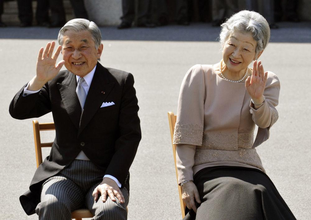 Cesarz Akihito i jego żona Michiko w Tokio