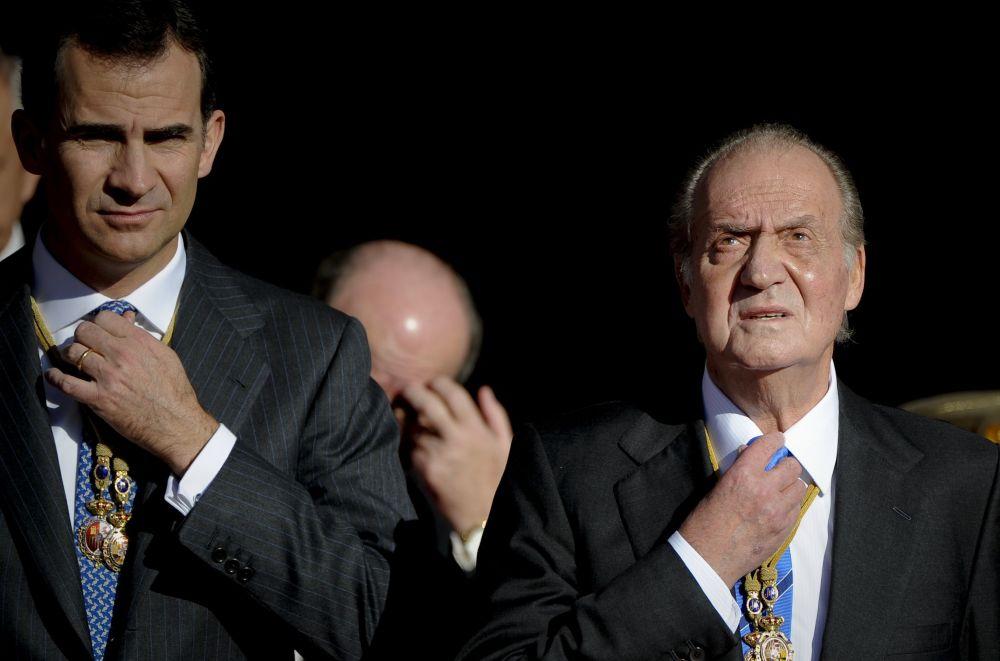 Król Hiszpanii Filip VI i były król Hiszpanii Jan Karol I w Madrycie