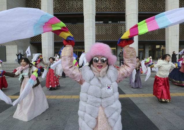 Kobiety świętują Lunarny Nowy Rok, Seul, Korea Południowa