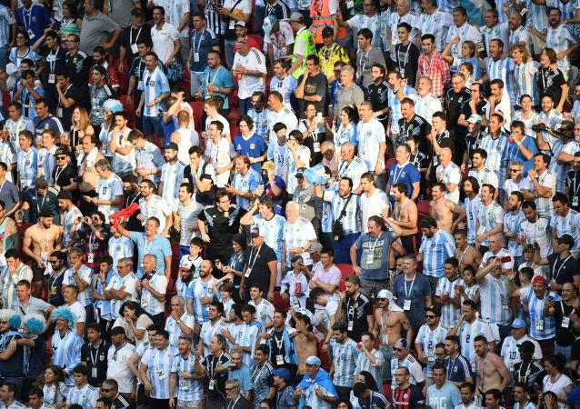 Argentyńscy kibice na Mistrzostwach Świata w Piłce Nożnej w Rosji