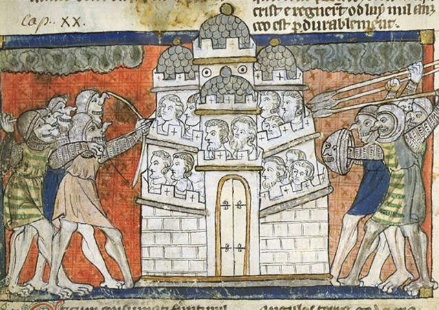 Scena inwazji Goga i Magoga na ziemię świętych