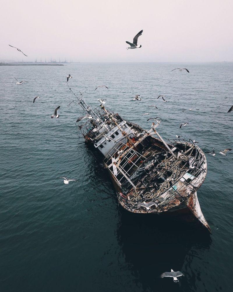 Porzucony statek na Sachalinie