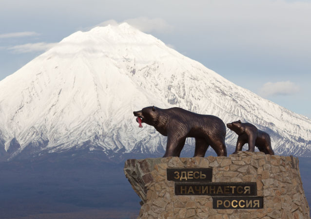 """Pomnik """"Niedźwiedź z niedźwiadkiem"""" przy wjeździe do miasta Jelizowo w Kraju Kamczackim"""