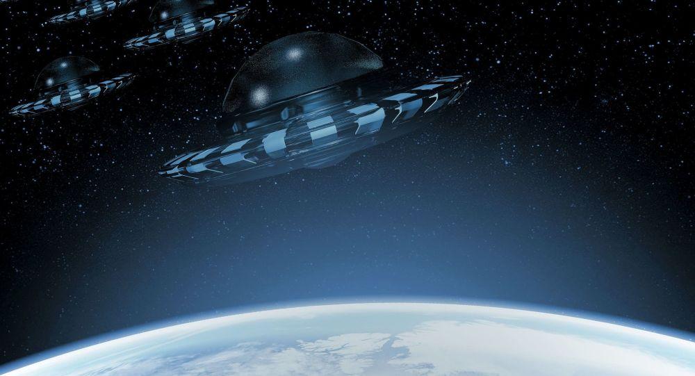 Artystyczny obraz UFO w pobliżu Ziemi