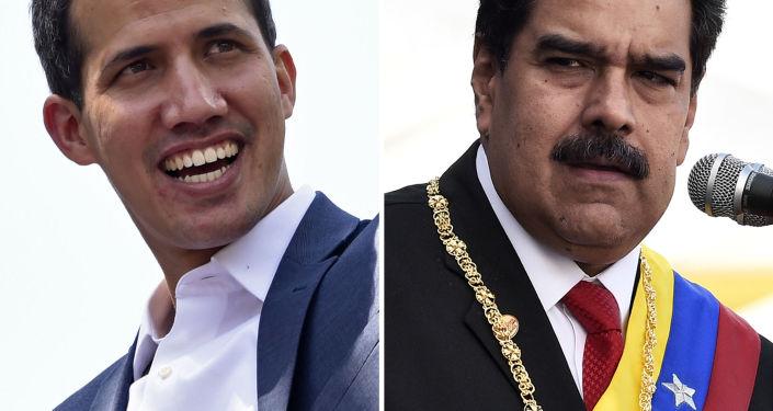 Przywódca opozycji Juan Guaido i wenezuelski prezydent Nicolas Maduro