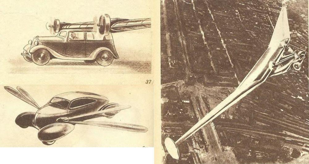 Ilustracja latającego samochodu z przyszłości w czasopiśmie Technika młodzieży, 1938 rok