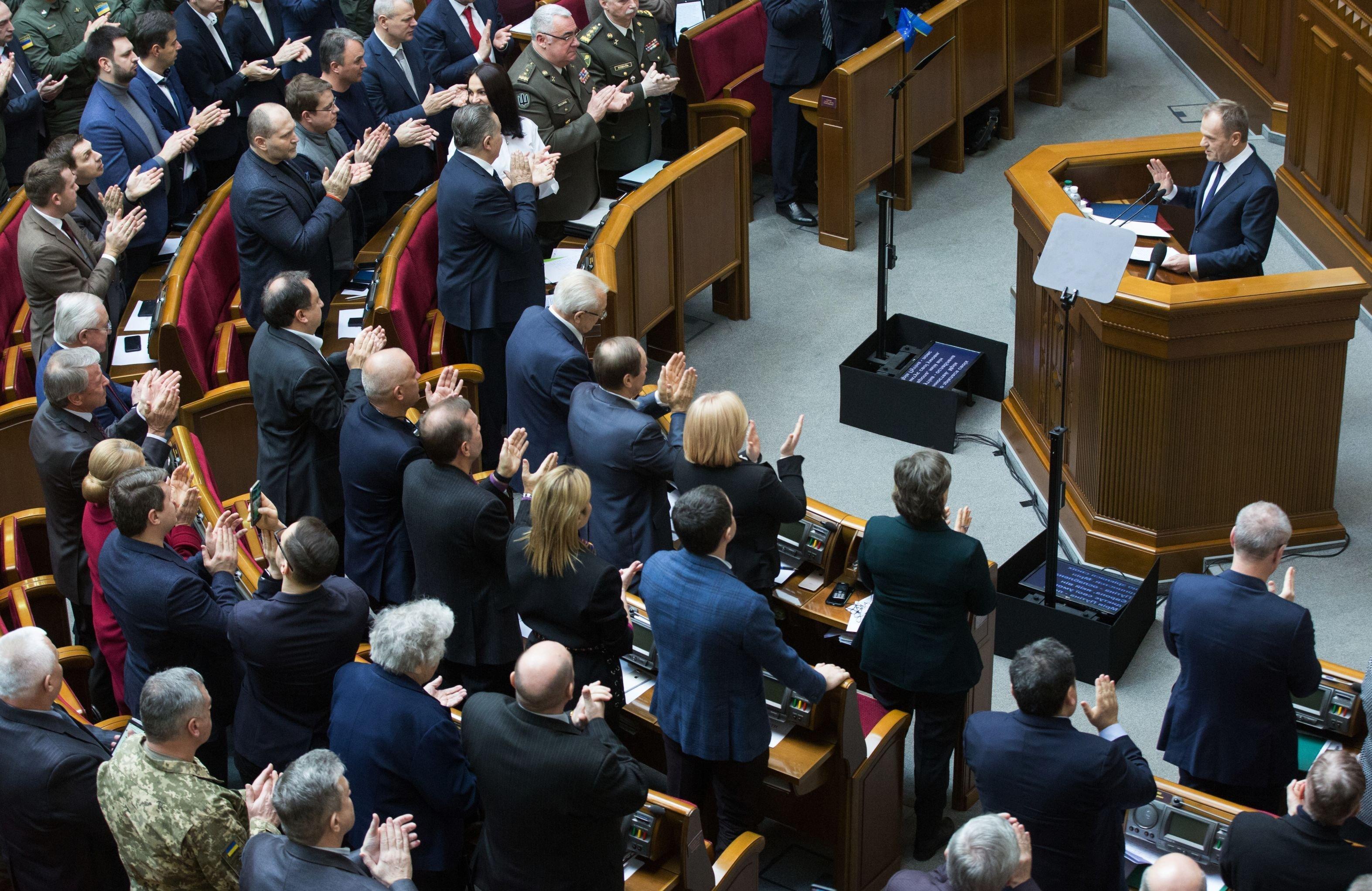 Donald Tusk. Kijów, Rada Najwyższa. Ukraina.