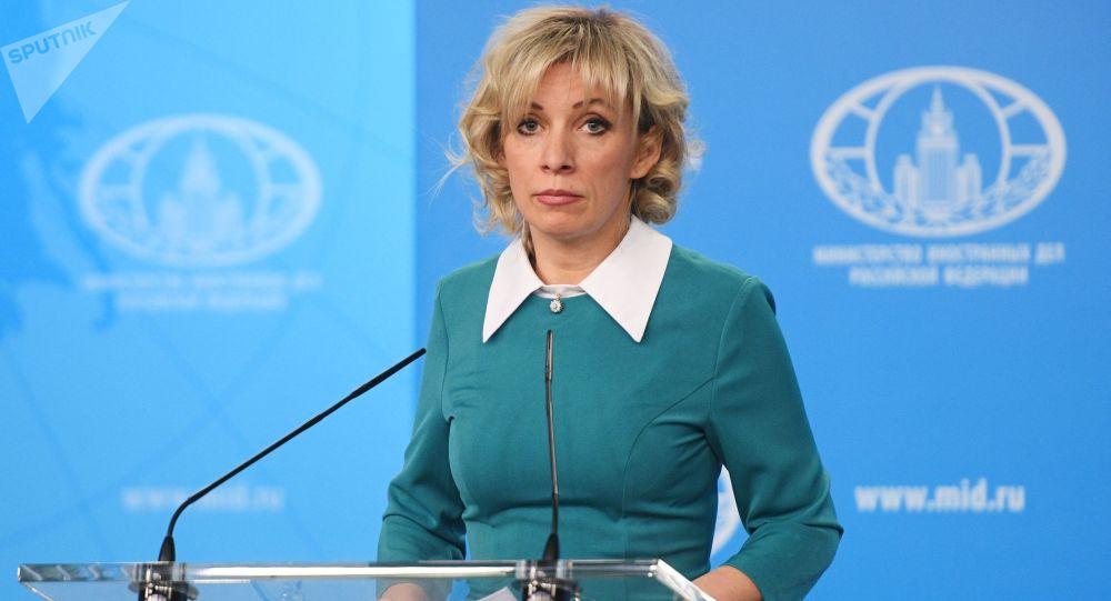 Rzeczniczka ministerstwa spraw zagranicznych  Rosji Maria Zacharowa w czasie briefingu w Moskwie