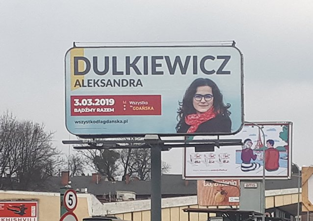Kampania wyborcza Aleksandry Dulkiewicz w Gdańsku. Zdjęcie z Głównego dworca PKS