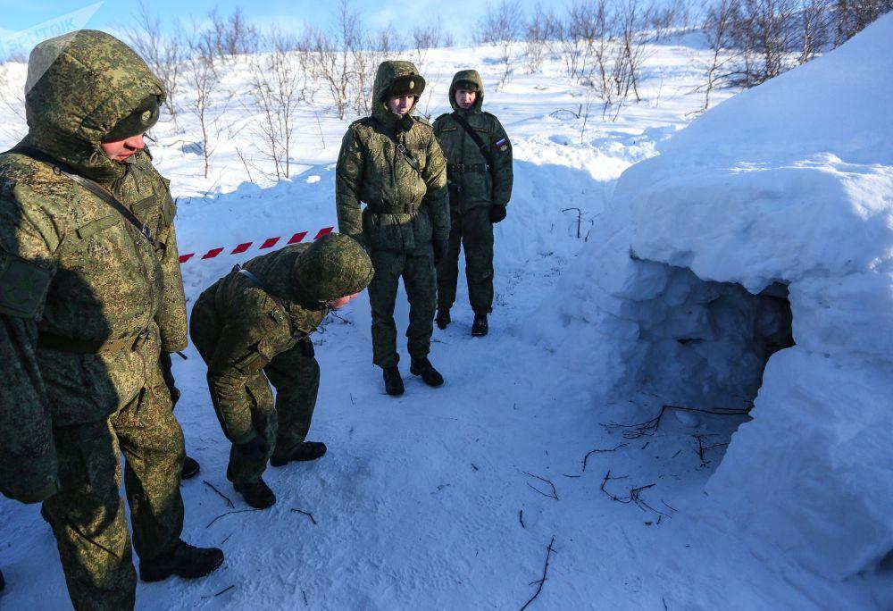 Oficerowie wojsk lądowych i przybrzeżnych rosyjskiej Floty Północnej podczas manewrów wojskowych