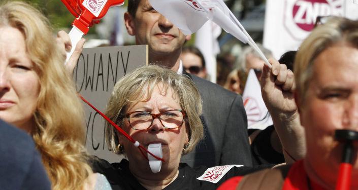 Protest nauczycieli w Warszawie. Zdjęcie archiwalne