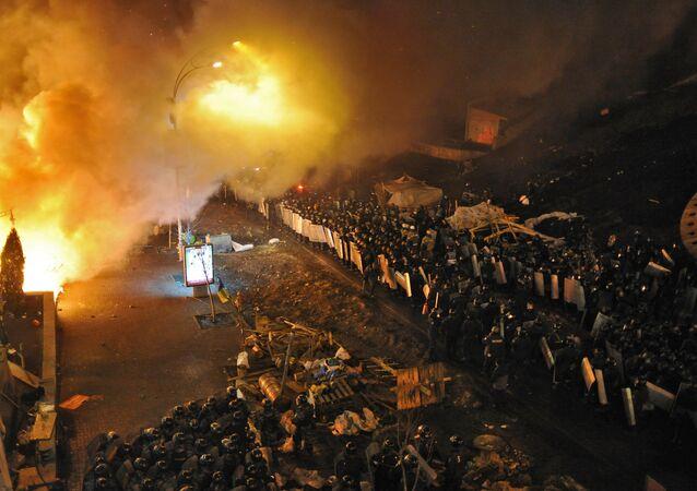 Walki na placu Niepodległości w Kijowie