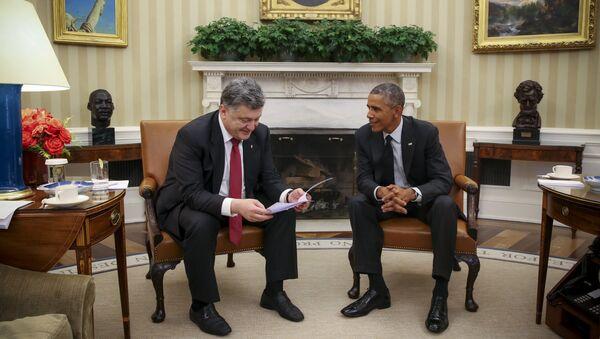 Piotr Poroszenko i Barack Obama w Białym Domie - Sputnik Polska