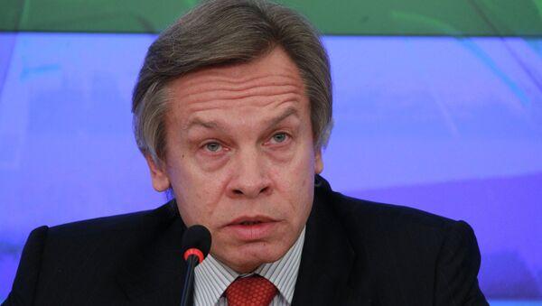 Przewodniczący komisji Dumy Państwowej do spraw międzynarodowych Aleksiej Puszkow - Sputnik Polska