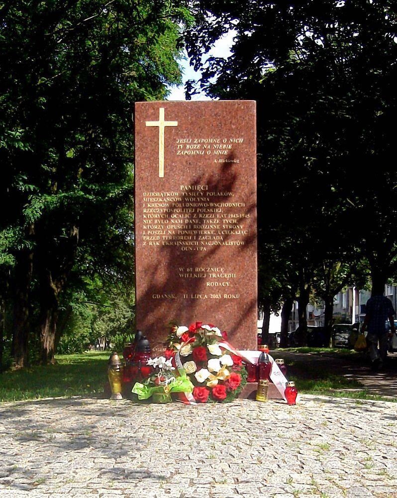 Pomnik poświęcony Polakom poległym na Wołyniu, w Gdańsku