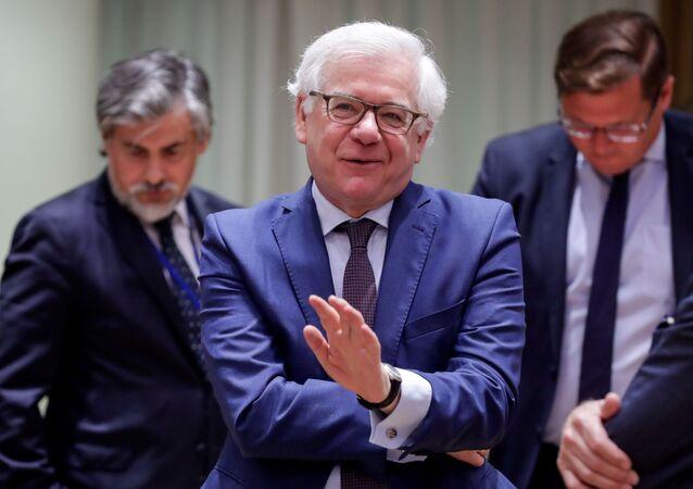 Szef MSZ Polski Jacek Czaputowicz na spotkaniu ministrów spraw zagranicznych UE w Brukseli