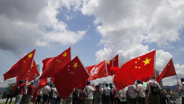 Zwolennicy Chin na wiecu w Hongkongu - Sputnik Polska