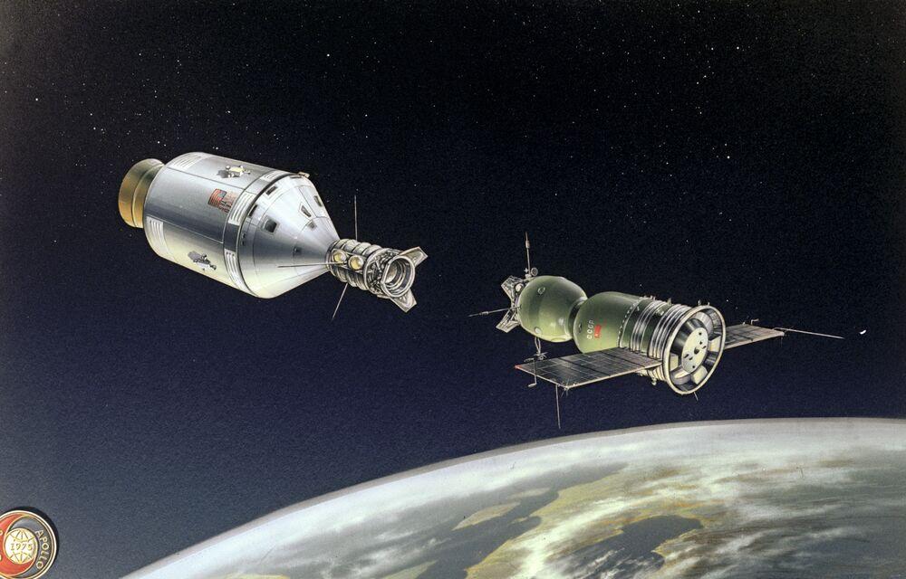 """Rysunek """"Dokowanie statków Sojuz-Apollo"""""""