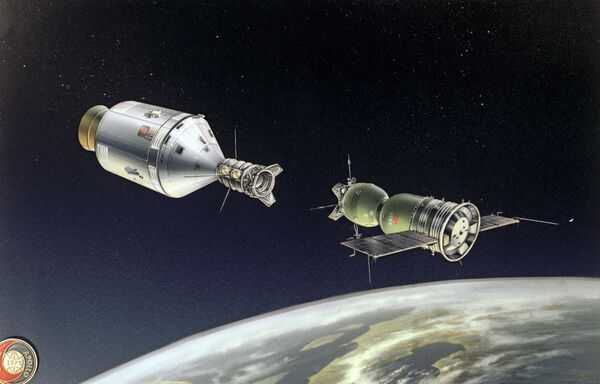 """Rysunek """"Dokowanie statków Sojuz-Apollo"""" - Sputnik Polska"""