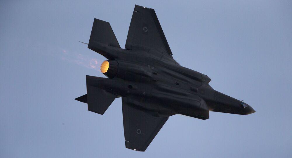 Myśliwiec F-35 sił powietrznych Izraela w czasie ćwiczeń wojskowych