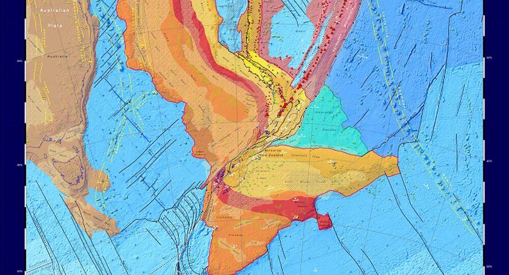 Karta tektoniczna nieistniejącego kontynentu Zelandia