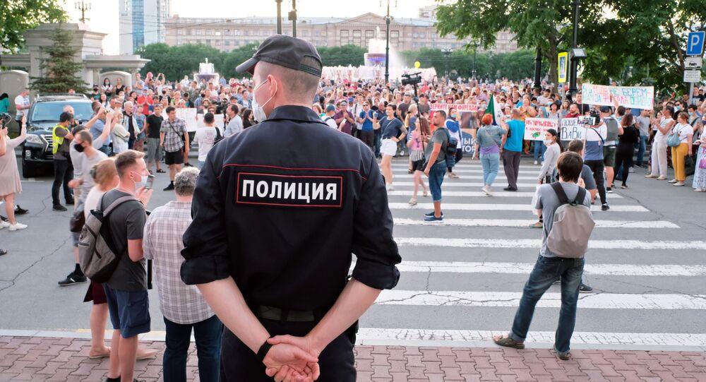 W Chabarowsku zakończyła się kolejna nielegalna akcja na rzecz poparcia aresztowanego byłego gubernatora kraju Siergieja Furgała
