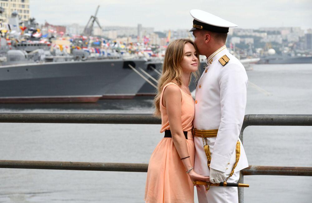 Parada z okazji Dnia Marynarki Wojennej Rosji we Władywostoku.