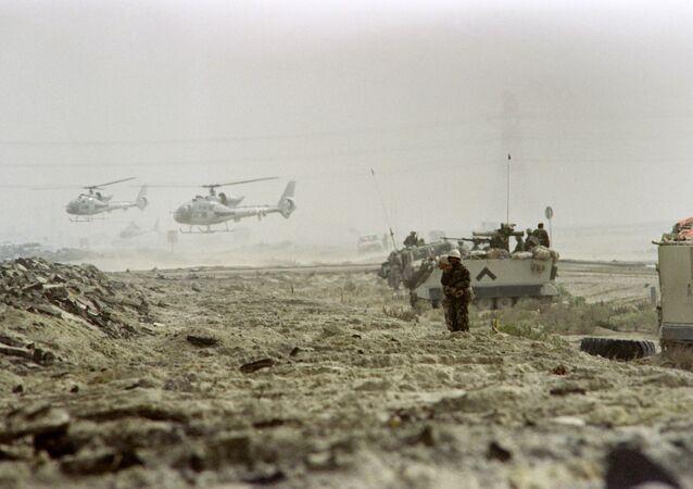 Saudyjscy żołnierze w Kuwejcie, 25 lutego 1991 r.