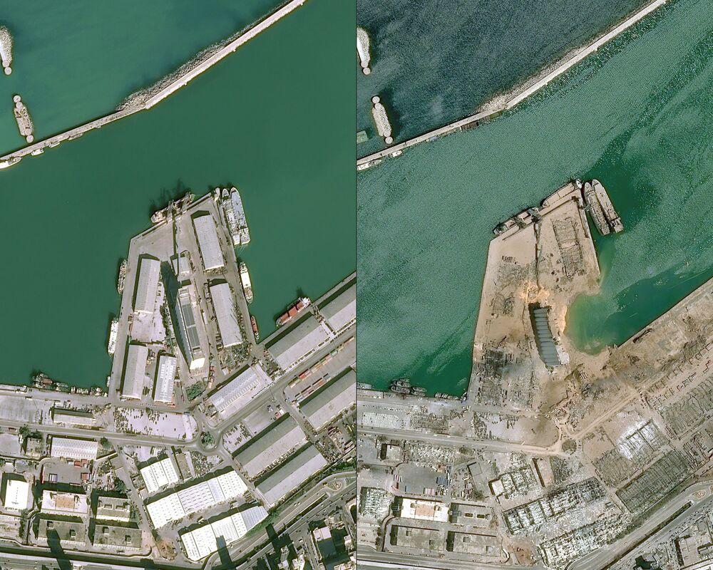 Port w Bejrucie: zdjęcie z góry przed i po eksplozji