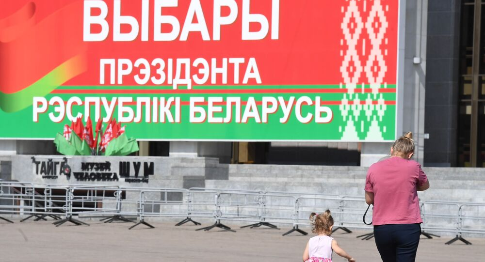 Lokal wyborczy w Mińsku.