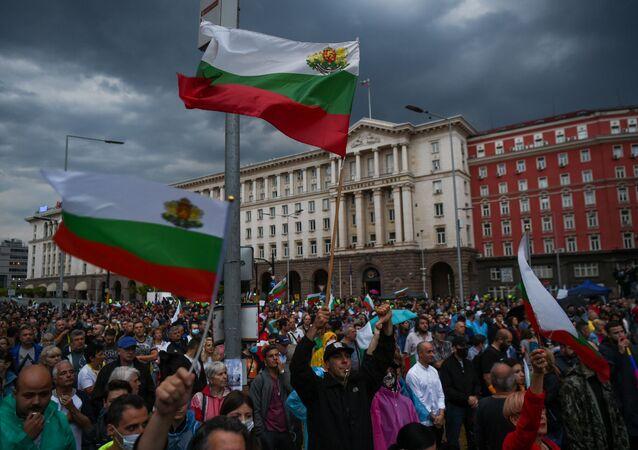 Antyrządowe protesty w Sofii. Bułgaria.