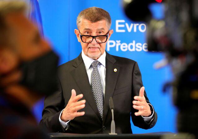 Premier Czech Andrej Babis w czasie szczytu Rady UE w Brukseli