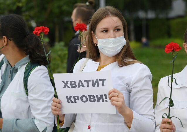 Akcja protestycyjna przeciwko przemocy w Mińsku