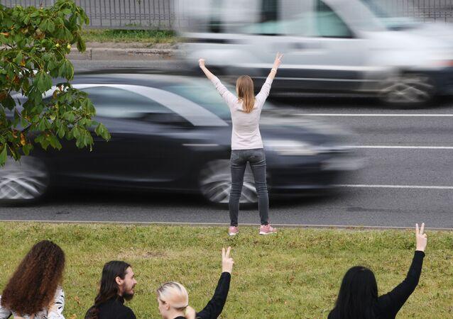 Akcja protestacyjna w Mińsku