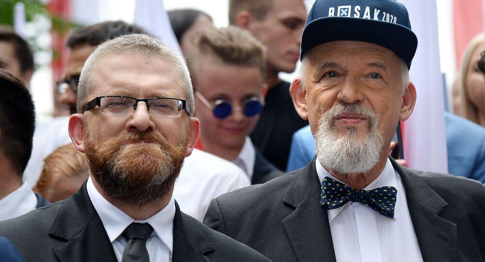 Grzegorz Braun i Janusz Korwin-Mikke na wiecu Konfederacji