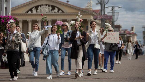Pokojowy protest w Mińsku - Sputnik Polska