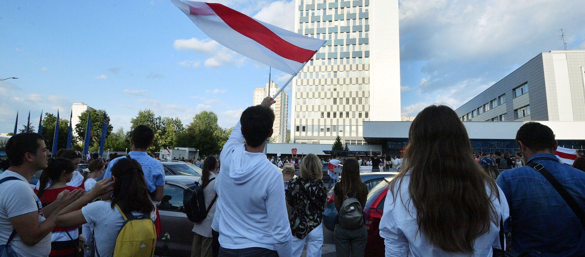 Biało-czerwono-biała flaga białoruskiej opozycji - Sputnik Polska, 1920, 09.06.2021