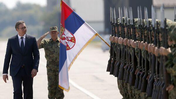 Prezydent Serbii Alaksandr Vucić na lotnisku wojskowym w Batajnicy niedaleko Belgradu - Sputnik Polska