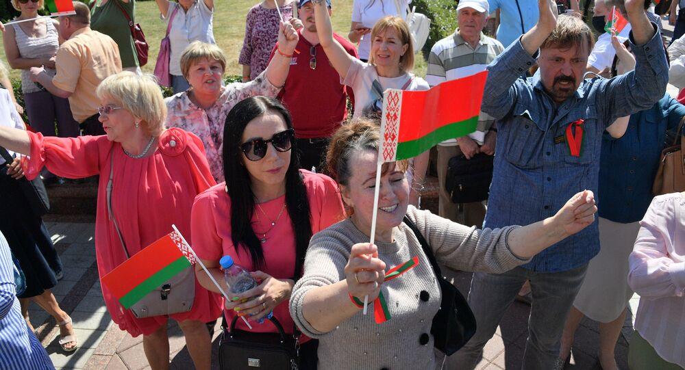 Mińsk, miting zwolenników Łukaszenki