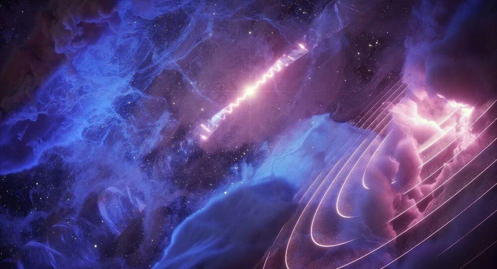 Mikrokwazar SS 433 (w tle) pulsujący z okresowością 162 dni