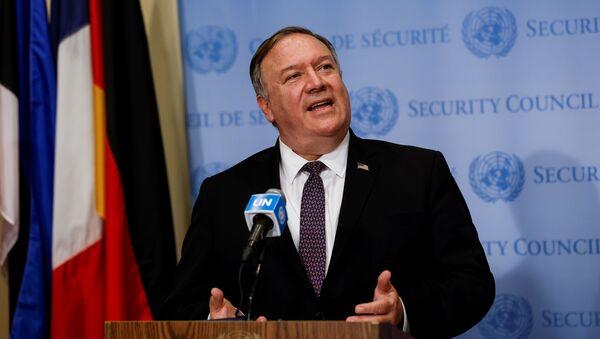 Sekretarz stanu USA Mike Pompeo w siedzibie ONZ w Nowym Jorku - Sputnik Polska